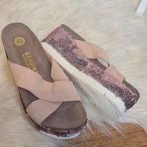 Genuins pink sequin platform sandals size 7
